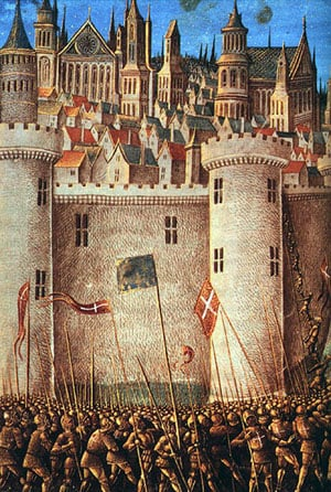Siege of Antioch - from a 15th-century miniature painting.