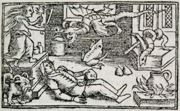 Olaus-Magnus - depiction of a witch 16th c.