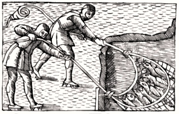 Medieval fishermen pulling in their catch