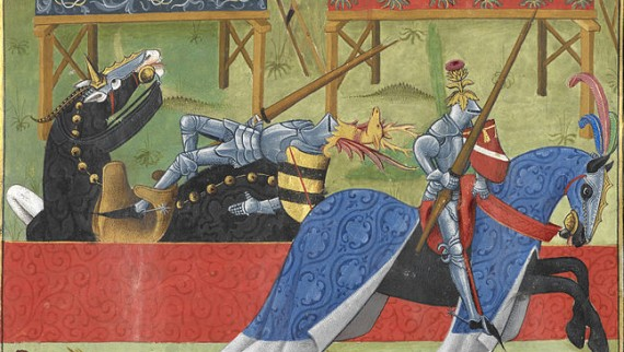 Jean de Saintré jousts with the Spanish knight, Enguerrant, at a tournament. - 15th century image from the British Library / Flickr
