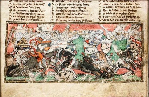 Battle between the Turks and the Crusaders  - The Hague, KB, KA 20 fol. 254v