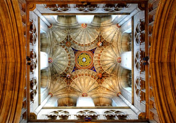 A view up the central tower (aka Bell Harry Tower) of Canterbury Cathedral. Photo by Tobias von der Haar / Flickr