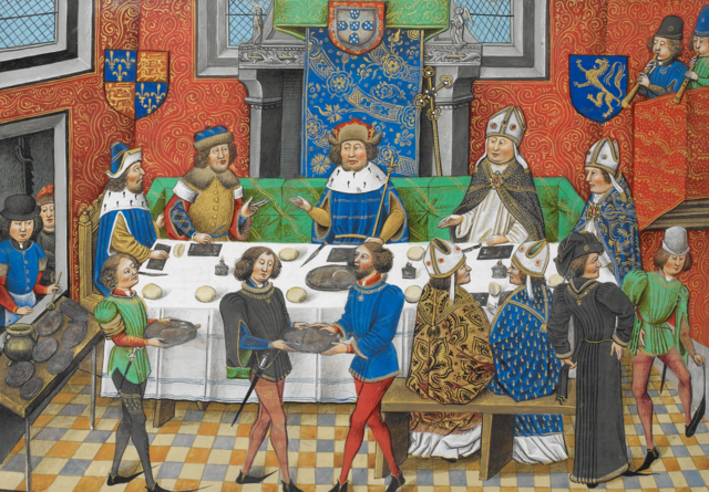 John of Gaunt, Duke of Lancaster, dining with John I, King of Portugal.