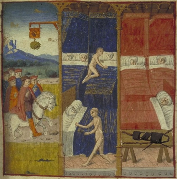 Miniature illustrating tale 30 of the Cent Nouvelles nouvelles (Tale of the three friars).