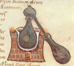 Picture of an alembic from a medieval manuscript