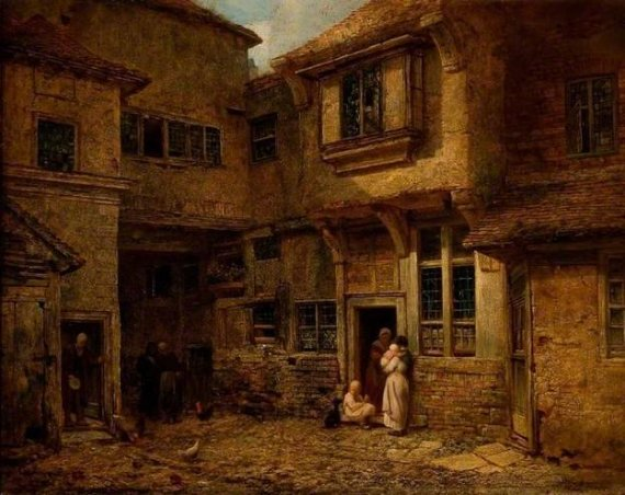medieval inn - Yard of the Old George Inn, Salisbury, 1838 - Edward Angelo Goodall and John Bailey Surgey. Originally built in 1314 AD