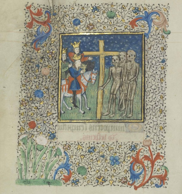 Three Living and Three Dead. 15th century, pigments and gold on parchment, 7 x 5 ½ in (173 x 135 mm). credit: University of Notre Dame, Hesburgh Library, Frag. III.1, fol. 75v.