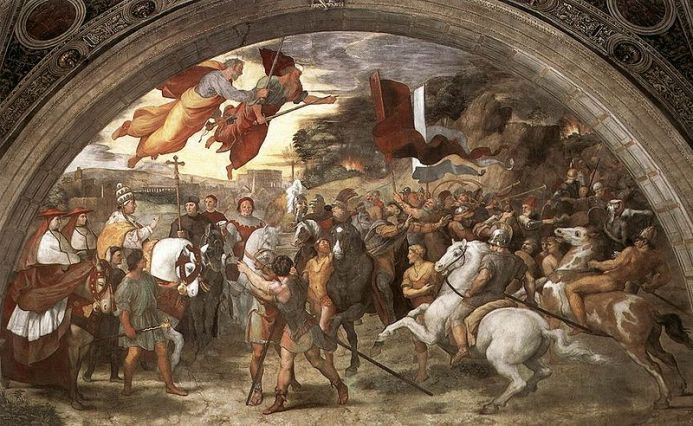16th century paingint by Raphael showing the Meeting between Leo the Great and Attila depicts Leo, escorted by Saint Peter and Saint Paul, meeting with the Hun king outside Rome.