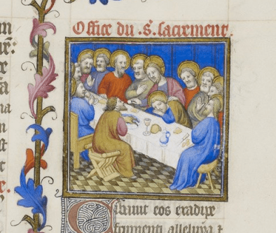 Miniature of the Institution of the Eucharist - British Library Egerton 1070   f. 113