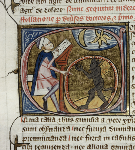 British Library - Royal 6.E.vi,  f. 396v. - Detail of a historiated initial 'C'(onstellacio) of an astrologer observing the sky, and the devil in a circle.