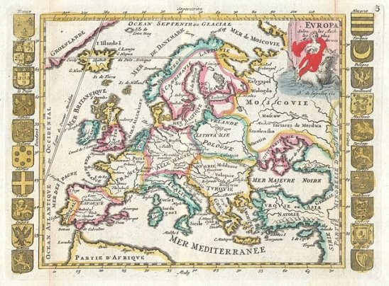 18th century map of Europe - map of Europe first issued by Daniel de La Feuille in 1702.
