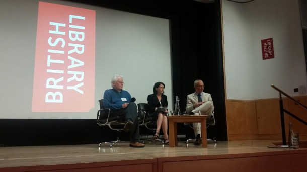 Professor John Gillingham and Marc Morris take questions after presenting their papers at the British Library for the final day of the Magna Carta Conference