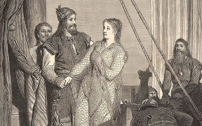 Ragnar meets Aslaug, as depicted by August Malmström (1829–1901)