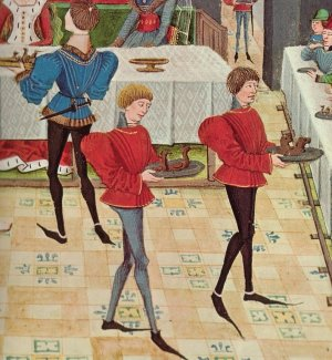 pointy shoes - Detail of a 15th century illuminated manuscript of Renaud de Montauban.