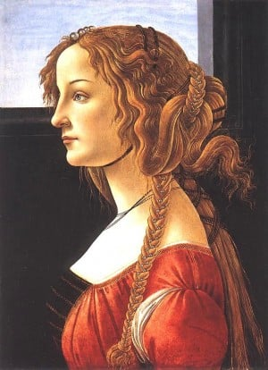 Portrait of a Young Woman - Sandro Botticelli (1480-1485). Botticelli captured the prized looks of the period in his intense detail to hairstyle and colour..