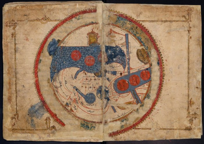 """Classic KMMS world map, with South on top, """"Ṣūrat al-Arḍ"""" (Picture of the World), from an abbreviated copy of al-Iṣṭakhrī's """"Kitāb al-masālik wa-al-mamālik"""" (Book of Routes and Realms). 589/1193. Mediterranean. Gouache and ink on paper. Diameter 37.5 cm. Courtesy: Leiden University Libraries. Cod. Or. 3101, fols. 4b–5a."""