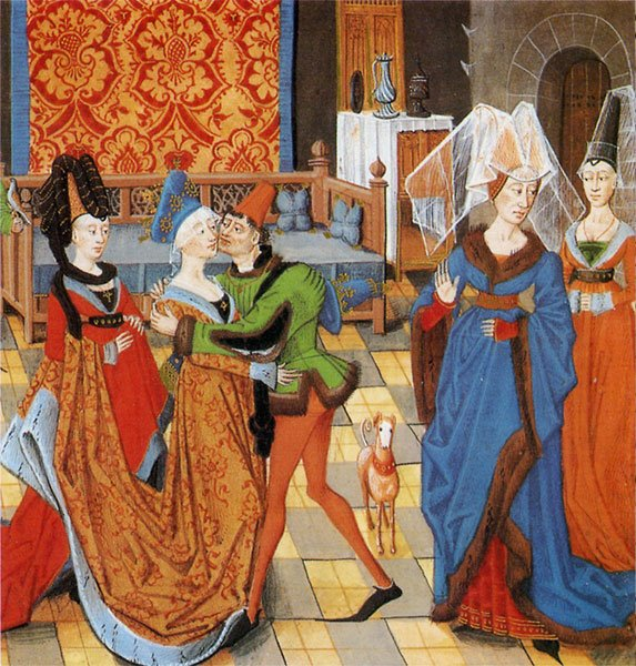 e533d383e Fashionably attired young man kissing a lady - Histoire de Helayne  15th  century French (