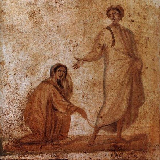 Jesus healing the bleeding woman, Roman catacombs, 300-350