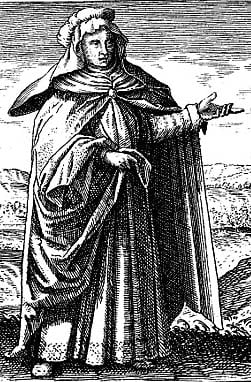 Engraving depicting Maria Prophetissima from Michael Maier's book Symbola Aurea Mensae Duodecim Nationum (1617).