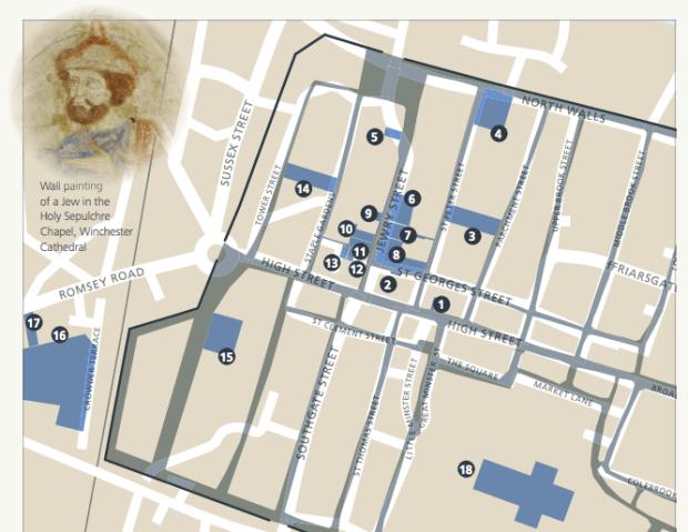 Winchester medival Jewish trail map