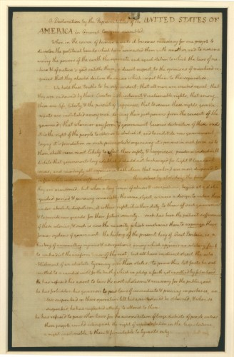 Page 1 of the Declaration of Independence - The New York Public Library. Photo courtesy of the British Library