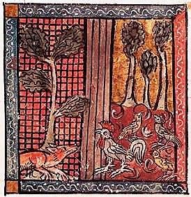 Chanticleer and the Fox in a mediaeval manuscript miniature