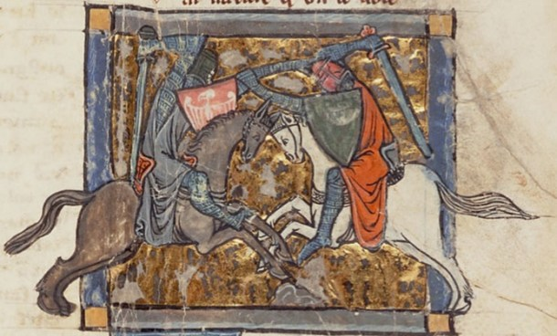 Yvain fighting Gawain. Medieval illumination from Chrétien de Troyes's romance, Yvain, le Chevalier au Lion