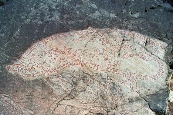 Ramsund rock engraving (Sö 101), Mälar Valley, Södermanland, Sweden. 11th cent., 4.7 x 1.8 m. Image courtesy of the Swedish National Heritage Board; photographer: Bengt A. Lundberg.