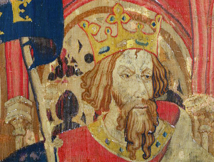"""King Arthur as one of the Nine Worthies, detail from the """"Christian Heroes Tapestry"""" dated c. 1385"""