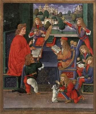 Ms 2167 F.13V Maximilian Sforza Attending to His Lessons, Lombard, from 'Donatus Grammatica' ' (vellum), Italian School, (15th century) / Biblioteca Trivulziana, Milan, Italy