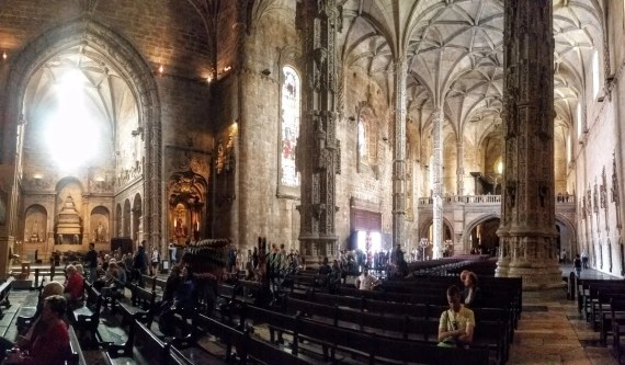 Panorama view of interior Jerónimos Monastery Cathedral, Belém, Lisbon. Photo by Medievalists.net.