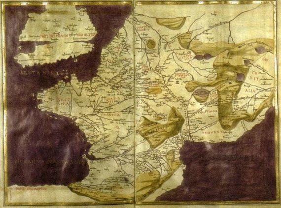 Carte moderne de France par Pietro del Massaio et Hugues Commineau, vers 1470-1480. Cosmographie de Ptolémée, Paris, Bibliothèque Nationale de France, latin 4802, fol. 125v-126.