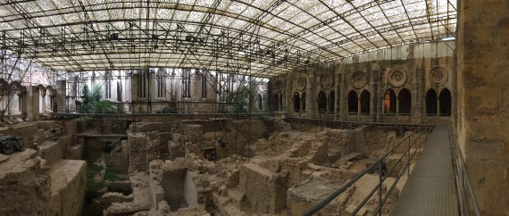 Panorama of Lisbon Cathedral's Medieval Cloisters shown with archeological dig underway. Photo by Medievalists.net