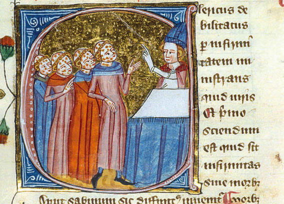 This image has been mistakenly used to depict the Black Death, however it actually refers to leprosy - from British Library, MS Royal 6 E VI, vol. 2, fol. 301ra