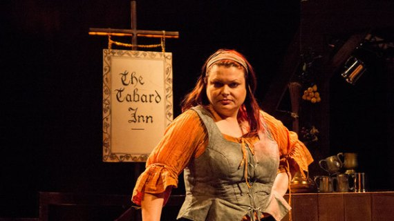 "Rosalind Blessed as the storytelling innkeeper, Rosie Bailey at the Southwark Playhouse in, ""The Ballad of Robin Hood""."