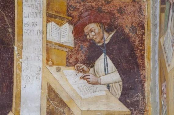Tommaso da Modena depicting eyeglasses in 1352.