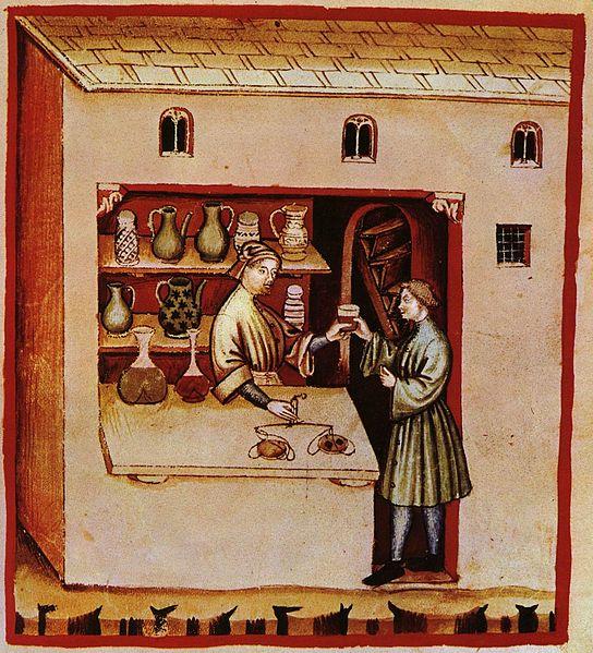 Illustration of a pharmacy in the Italian Tacuinum sanitatis, 14th century.