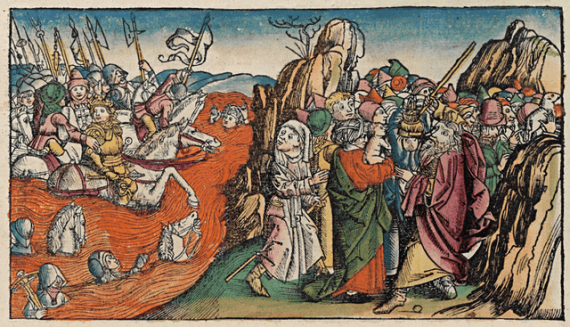 Crossing of the Red Sea depicted in the 15th century  Nuremberg Chronicle