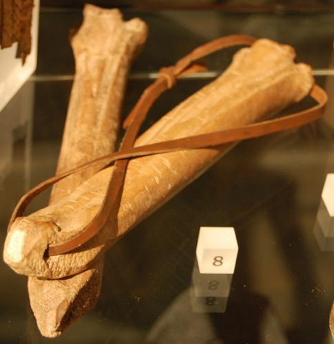 Medieval ice skates made of bone on display at the Museum of London. Photo by Steven G. Johnson, Wikipedia.