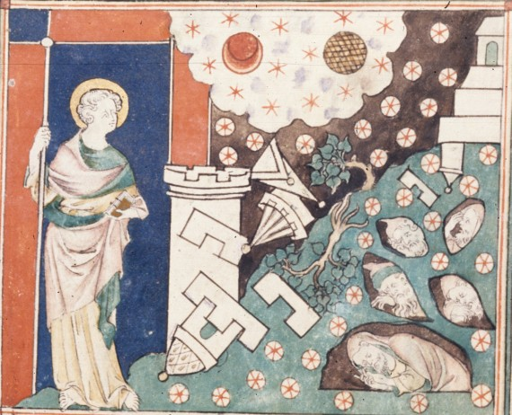 Medieval image of an earthquake, with ruins and fallen stars, and the dead in holes. British Library MS Royal 19 B XV   f. 11v