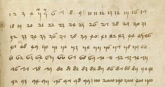 A German manuscript page teaching use of Arabic numerals- Ms.Thott.290.2º_150v