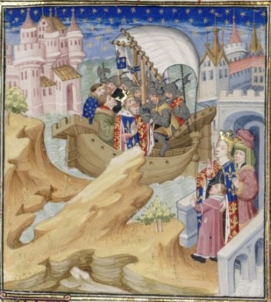 Bibliothèque Nationale MS Fr. 2675 - An imaginative medieval interpretation of Edward's arrest by Isabella, seen watching from the right.