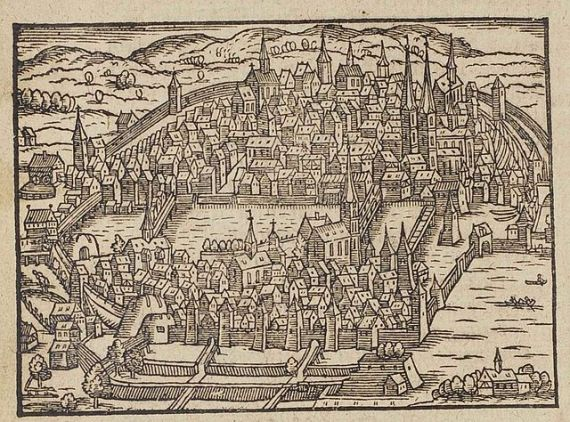 16th century map of Zürich, Switzerland