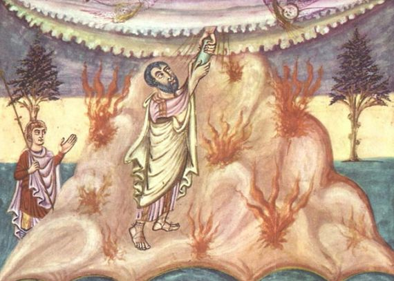 Moses receives the Ten Commandments, depicted in a Carolingian manuscript circa 840