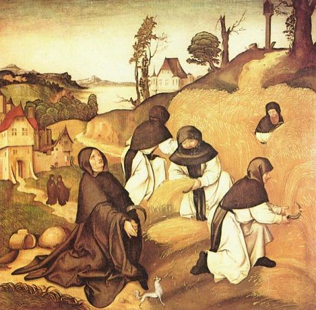 Cistercians at work in a detail from the Life of St. Bernard of Clairvaux, illustrated by Jörg Breu the Elder (1500)