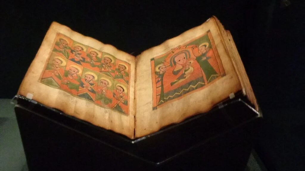 Ethiopian Manuscript. Getty Museum, Los Angeles, CA. 'Traversing the Globe Through Illuminated Manuscript' (Photo courtesy of Dani Trynoski)