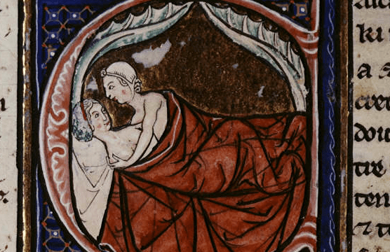 Lovers in Bed - from British Library MS Sloane 2435 f. 9v