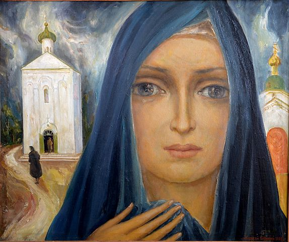 "Alexey Kuzmich ""Crying Euphrosyne of Polotsk"" 1992, oil on canvas, 120,7 x 100 cm"