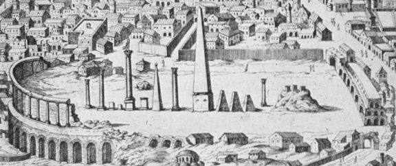 Ruins of the Hippodrome, from an engraving by Onofrio Panvinio in his work De Ludis Circensibus (Venice, 1600.)