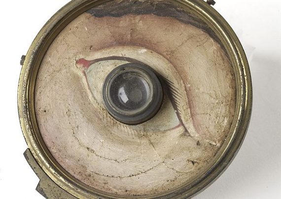 Model eye, glass lens with brass-backed paper front with hand-painted face around eye, by W. and S. Jones, London, 1840-1900 - Wellcome Images
